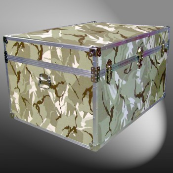 01-185 DSE DESERT STORM CAMO Super Jumbo Storage Trunk with Alloy Trim
