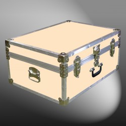 10-175 CLE CHAMPAGNE LEATHERETTE 27 Cabin Storage Trunk with Alloy Trim