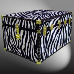 01-220 ZEB FAUX ZEBRA Super Jumbo Storage Trunk with ABS Trim