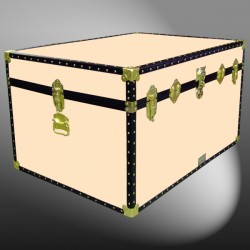 01-218 CL CHAMPAGNE LEATHERETTE Super Jumbo Storage Trunk with ABS Trim