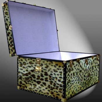 02-212 CH FAUX CHEETAH Jumbo Storage Trunk with ABS Trim