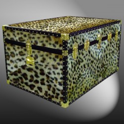 01-222 CH FAUX CHEETAH Super Jumbo Storage Trunk with ABS Trim