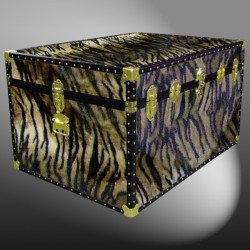 01-226 TI FAUX TIGER Super Jumbo Storage Trunk with ABS Trim