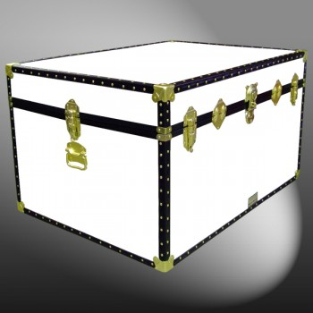 01-216 WL WHITE LEATHERETTE Super Jumbo Storage Trunk with ABS Trim