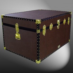 01-214 BL BROWN LEATHERETTE Super Jumbo Storage Trunk with ABS Trim