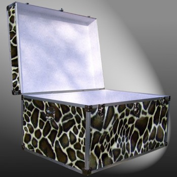 01-225 GE FAUX GIRAFFE Super Jumbo Storage Trunk with Alloy Trim