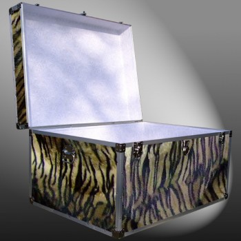 01-227 TIE FAUX TIGER Super Jumbo Storage Trunk with Alloy Trim