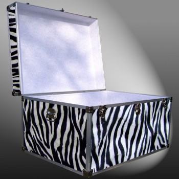 01-221 ZEBE FAUX ZEBRA Super Jumbo Storage Trunk with Alloy Trim