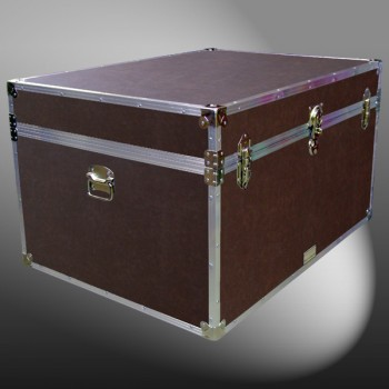 01-215 BLE BROWN LEATHERETTE Super Jumbo Storage Trunk with Alloy Trim