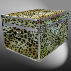 01-223 CHE FAUX CHEETAH Super Jumbo Storage Trunk with Alloy Trim