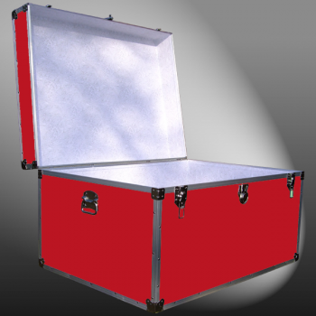 02-137 RE RED Jumbo Storage Trunk with Alloy Trim