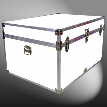 01-217 WLE WHITE LEATHERETTE Super Jumbo Storage Trunk with Alloy Trim