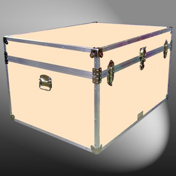 01-219 CLE CHAMPAGNE LEATHERETTE Super Jumbo Storage Trunk with Alloy Trim