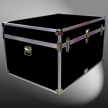 01-150 RE BLACK Super Jumbo Storage Trunk with Alloy Trim