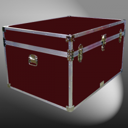 01-148 RE MAROON Super Jumbo Storage Trunk with Alloy Trim