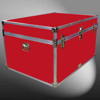 01-147 RE RED Super Jumbo Storage Trunk with Alloy Trim
