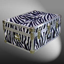 10-177 ZEBE FAUX ZEBRA 27 Cabin Storage Trunk with Alloy Trim