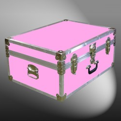 10-151 E WOOD WASH PINK 27 Cabin Storage Trunk with Alloy Trim