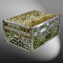 10-179 CHE FAUX CHEETAH 27 Cabin Storage Trunk with Alloy Trim