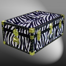 10-176 ZEB FAUX ZEBRA 27 Cabin Storage Trunk with ABS Trim