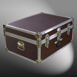10-171 BLE BROWN LEATHERETTE 27 Cabin Storage Trunk with Alloy Trim