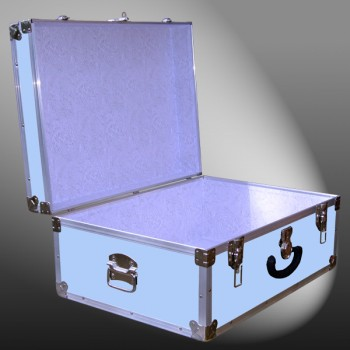 10-147 E WOOD WASH BLUE 27 Cabin Storage Trunk with Alloy Trim