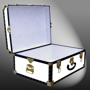 10-172 WL WHITE LEATHERETTE 27 Cabin Storage Trunk with ABS Trim