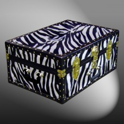 11-166 ZEB FAUX ZEBRA 24 Storage Trunk Case with ABS Trim