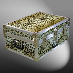 11-169 CHE FAUX CHEETAH 24 Storage Trunk Case with Alloy Trim
