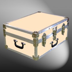 11-165 CLE CHAMPAGNE LEATHERETTE 24 Storage Trunk Case with Alloy Trim