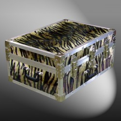 11-173 TIE FAUX TIGER 24 Storage Trunk Case with Alloy Trim