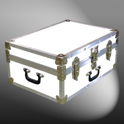 11-163 WLE WHITE LEATHERETTE 24 Storage Trunk Case with Alloy Trim