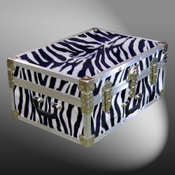 11-167 ZEBE FAUX ZEBRA 24 Storage Trunk Case with Alloy Trim