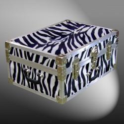 11-167 ZEBE FAUX ZEBRA 24 Storage Trunk Case with Alloy Trim