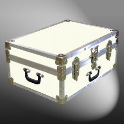 11-150 E WOOD WASH CREAM 24 Storage Trunk Case with Alloy Trim