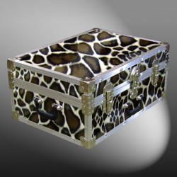 11-171 GE FAUX GIRAFFE 24 Storage Trunk Case with Alloy Trim