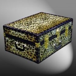 11-168 CH FAUX CHEETAH 24 Storage Trunk Case with ABS Trim