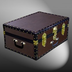 11-160 BL BROWN LEATHERETTE 24 Storage Trunk Case with ABS Trim