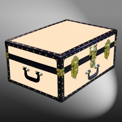 11-164 CL CHAMPAGNE LEATHERETTE 24 Storage Trunk Case with ABS Trim