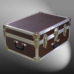 11-161 BLE BROWN LEATHERETTE 24 Storage Trunk Case with Alloy Trim