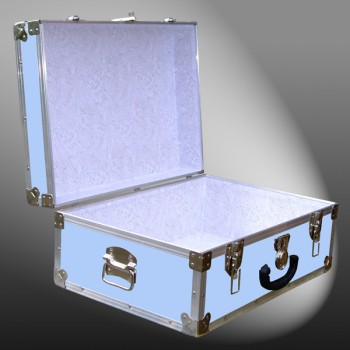 11-144 E WOOD WASH BLUE 24 Storage Trunk Case with Alloy Trim