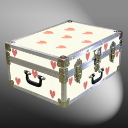 11-158 E CREAM & HEARTS WOOD WASH 24 Storage Trunk Case with Alloy Trim