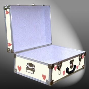 11-158 E CREAM & HEARTS WOOD WASH 24 Storage Trunk Case with Alloy Trim