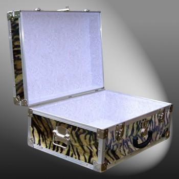 11-173 TIE FAUX TIGER 24 Storage Trunk Case with Alloy Trim