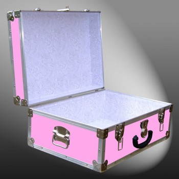 11-148 E WOOD WASH PINK 24 Storage Trunk Case with Alloy Trim