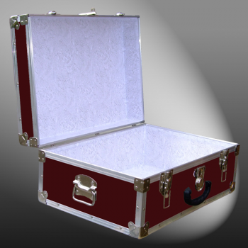 11-086 RE MAROON 24 Storage Trunk Case with Alloy Trim