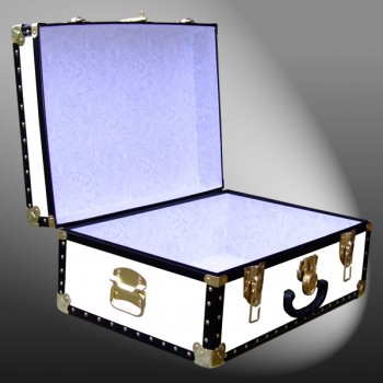 11-162 WL WHITE LEATHERETTE 24 Storage Trunk Case with ABS Trim