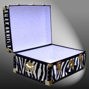11-166 ZEB FAUX ZEBRA 24 Storage Trunk Case with ABS Trim