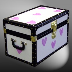 12-078.5 CREAM & PURPLE HEARTS WOOD WASH Tuck Box Storage Trunk with ABS Trim