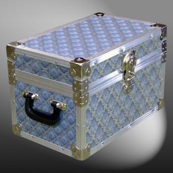 12-076 EBLW BLUE WEAVE Tuck Box Storage Trunk with Alloy Trim